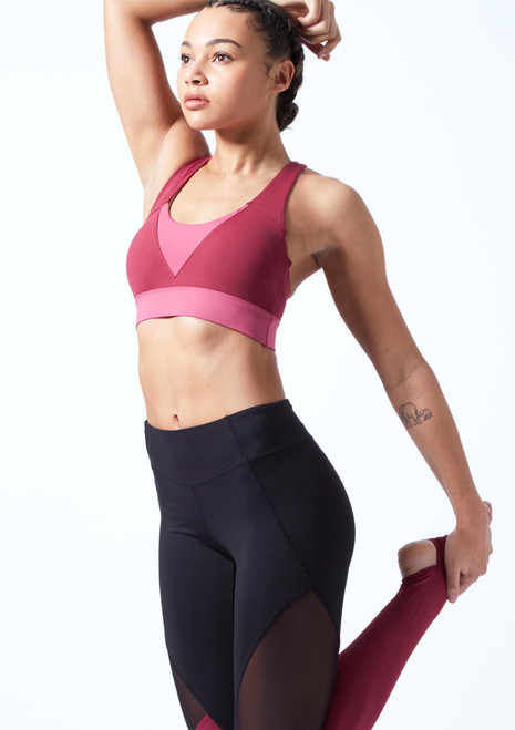 Bloch Cross Back Crop Top Pink front. [Pink]