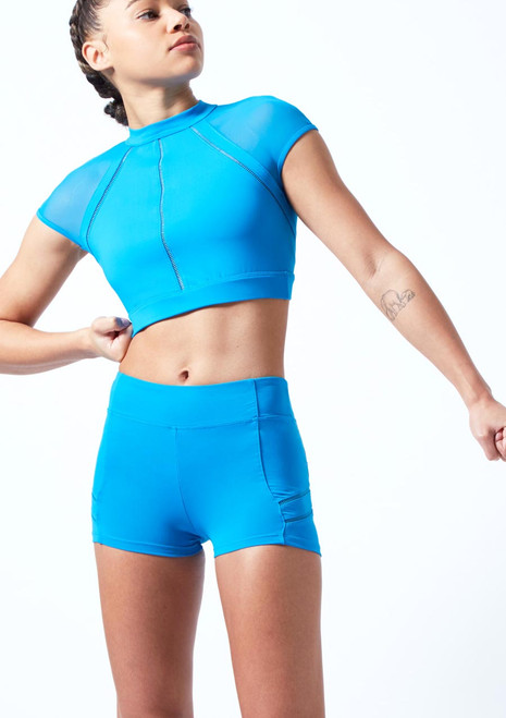 Bloch Ladder Trim Crop Top Blue front. [Blue]