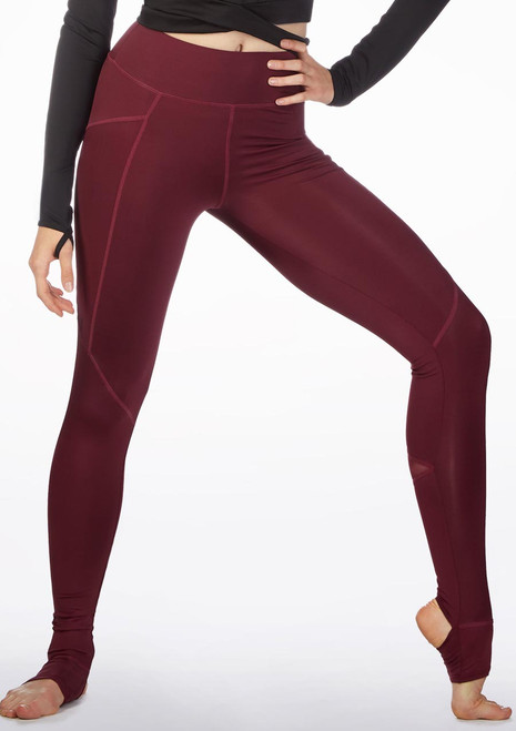 Capezio Renewal Stirrup Leggings Red front. [Red]