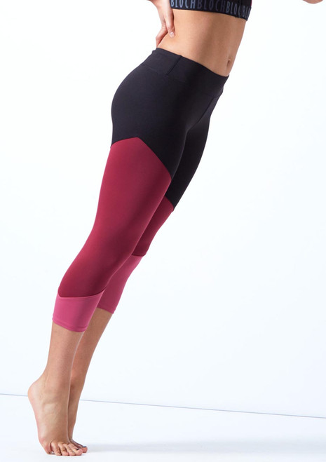Bloch Panelled Capri Leggings Pink front. [Pink]