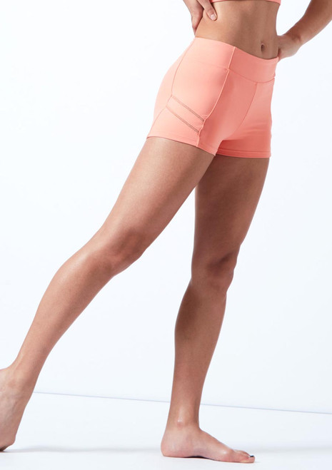 Bloch Ladder Trim Shorts Pink front. [Pink]