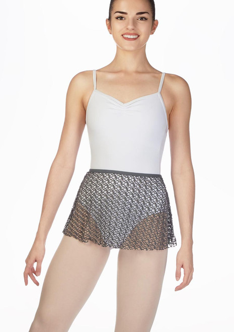 Capezio Fishnet Dance Skirt Grey front.