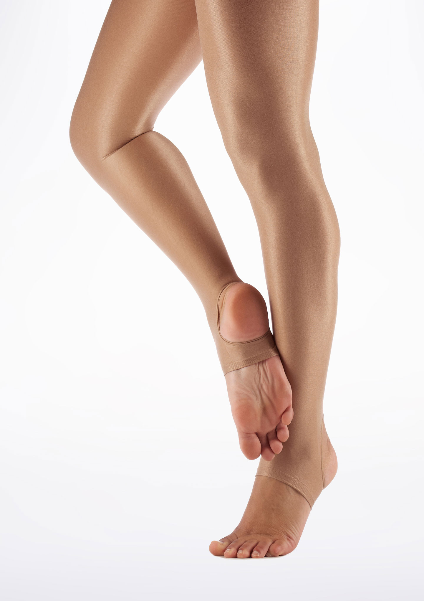 Capezio Shimmer Stirrup Dance Tights Light Toast Brown front. [Brown]
