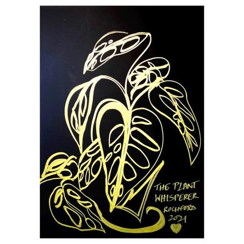 Golden Line Drawing: The Plant Whisperer
