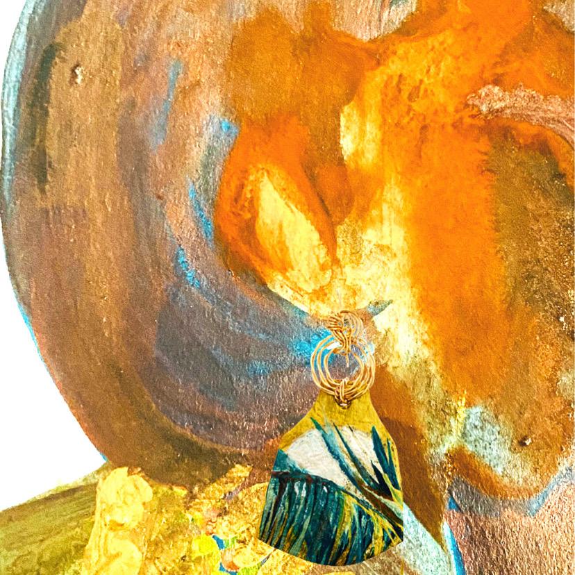 Moonrise designer leather earrings handmade in Trinidad and Tobago by Rachel Rochford.