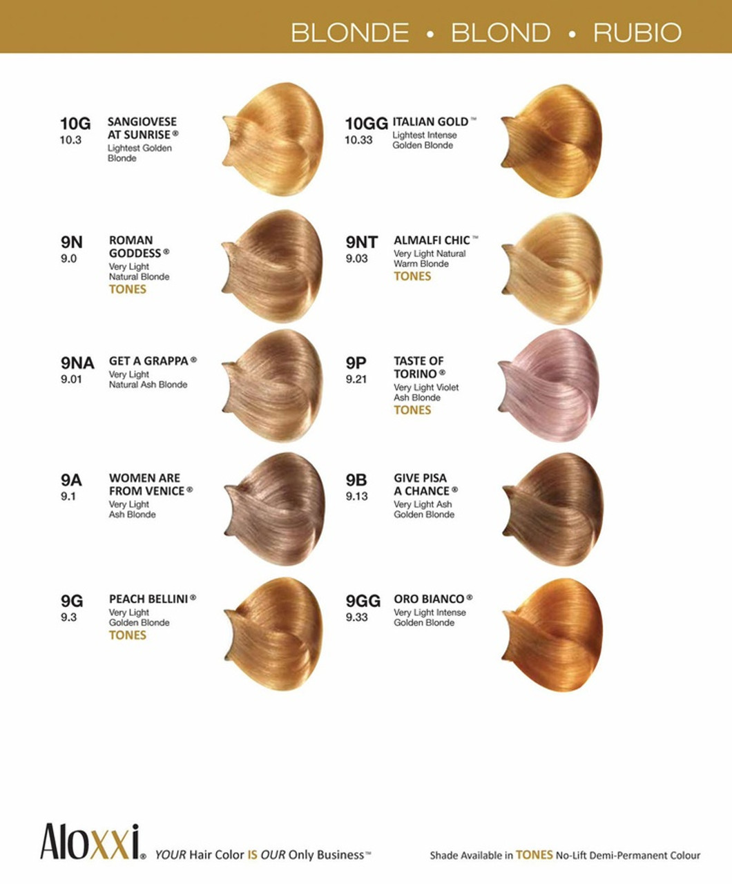 Aloxxi Blondes color chart