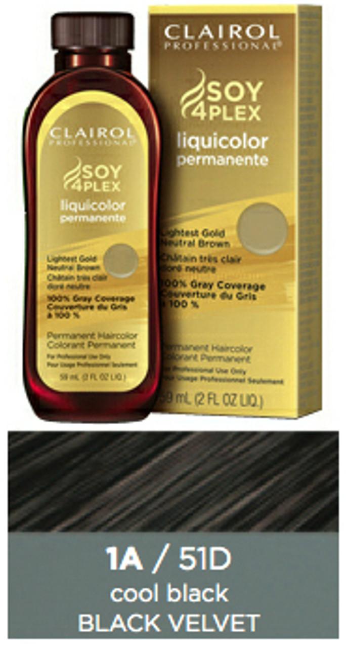 Clairol 51D Black Velvet: bottle, box, and color