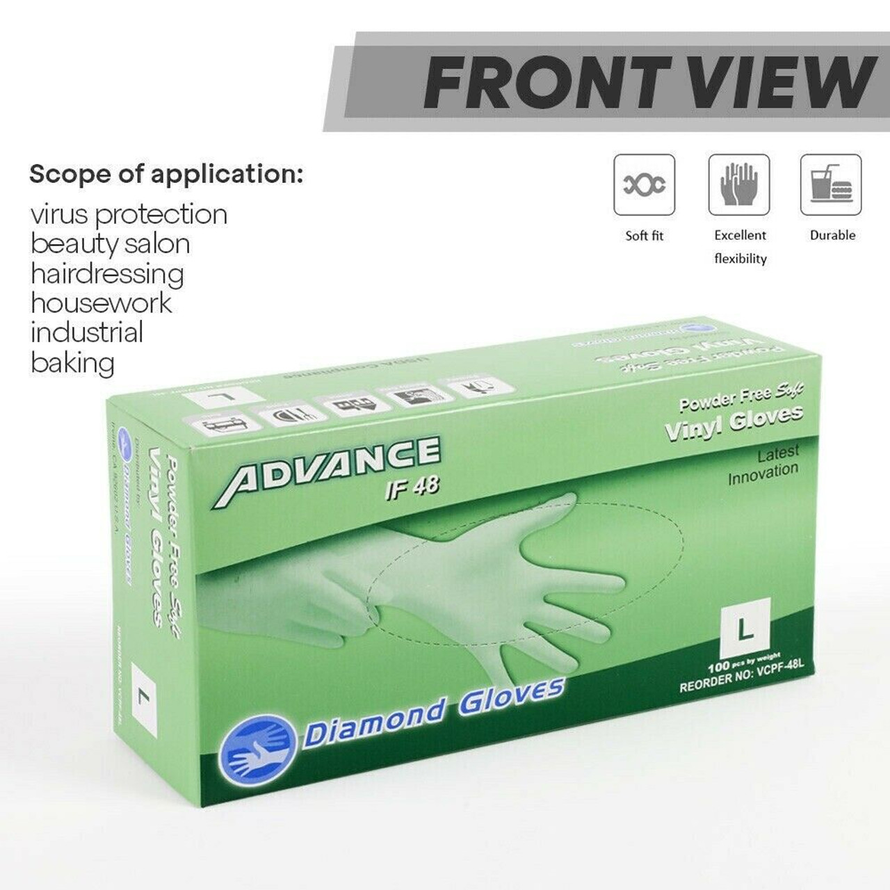 Synthetic Vinyl Powder Free Gloves, Clear, Box of 100 - Multi Purpose and General