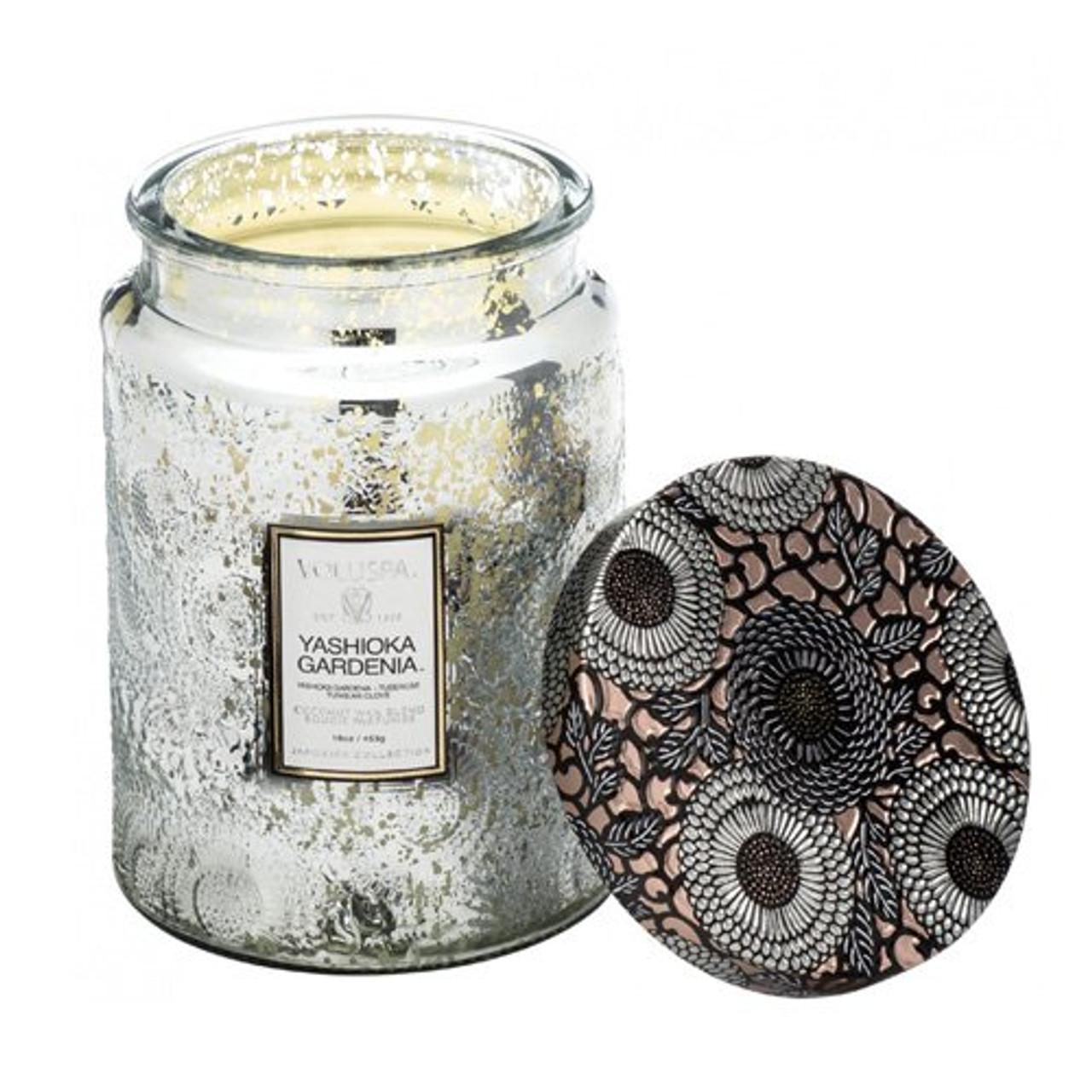 Voluspa Yashioka Gardenia Large Embossed Glass Jar Candle, 16 Ounces