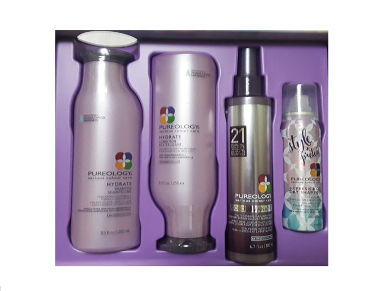 Pureology Hydrate Shampoo Conditioner Color Care Dry Shampoo Gift Set