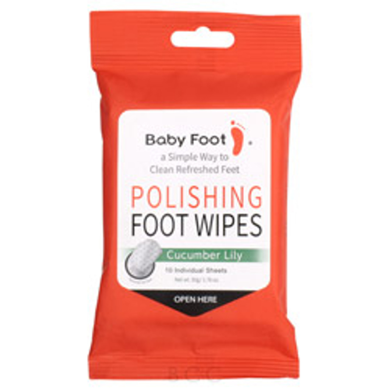 Baby Foot Polishing Foot Wipes 10 Applications  Make sure your feet are always clean and looking great with these foot wipes! Wipes that have a textured feel to gently exfoliate the feet while removing residue and smoothing out impurities. Gives your feet the deepest clean possible and works great to use after the peeling process of the Baby Foot Exfoliation Foot Peels!