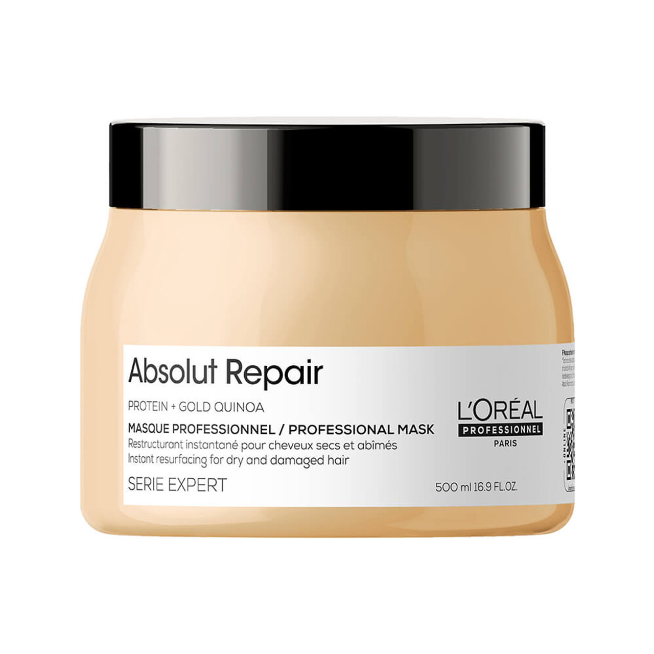 L'Oreal Professionnel Serie Expert Absolut Repair Professional Mask 500ml  Absolut Repair Instant resurfacing mask offers the ultimate professional deep resurfacing experience for medium - thick damaged and dry hair. The resurfacing mask helps to visibly resurface damaged hair resulting in up to 77%* less fiber surface damage. The hair is manageable and up to 7X** shinier after the treatment routine including the Absolut Repair resurfacing shampoo. This luxurious mask has a creamy texture, which envelopes your damaged hair with care without weighing it down.