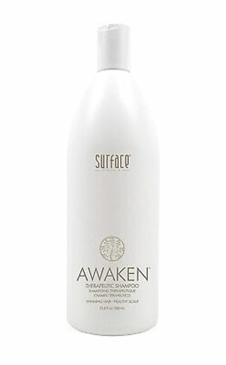 Awaken Therapeutic shampoo Liter Surface Awaken Therapeutic Shampoo is the best color correcting shampoo as it nourishes damaged and dry hair. This shampoo is specially formulated to hydrate hair and replace the needed oils to make hair shiny and sleek. This all natural product is packed with botanical oils and vitamins to replenish and leave hair moisturized.