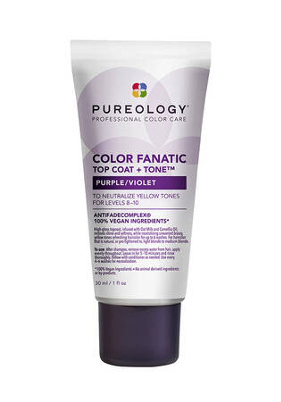 Color Finatic Top Coat Purple 30 Top Coat + Color Care High gloss topcoat, infused with Oat Milk and Camellia Oil resolves shine and softness, while neutralizing unwanted brassy, yellow tones refreshing hair color for up to 6 washes.