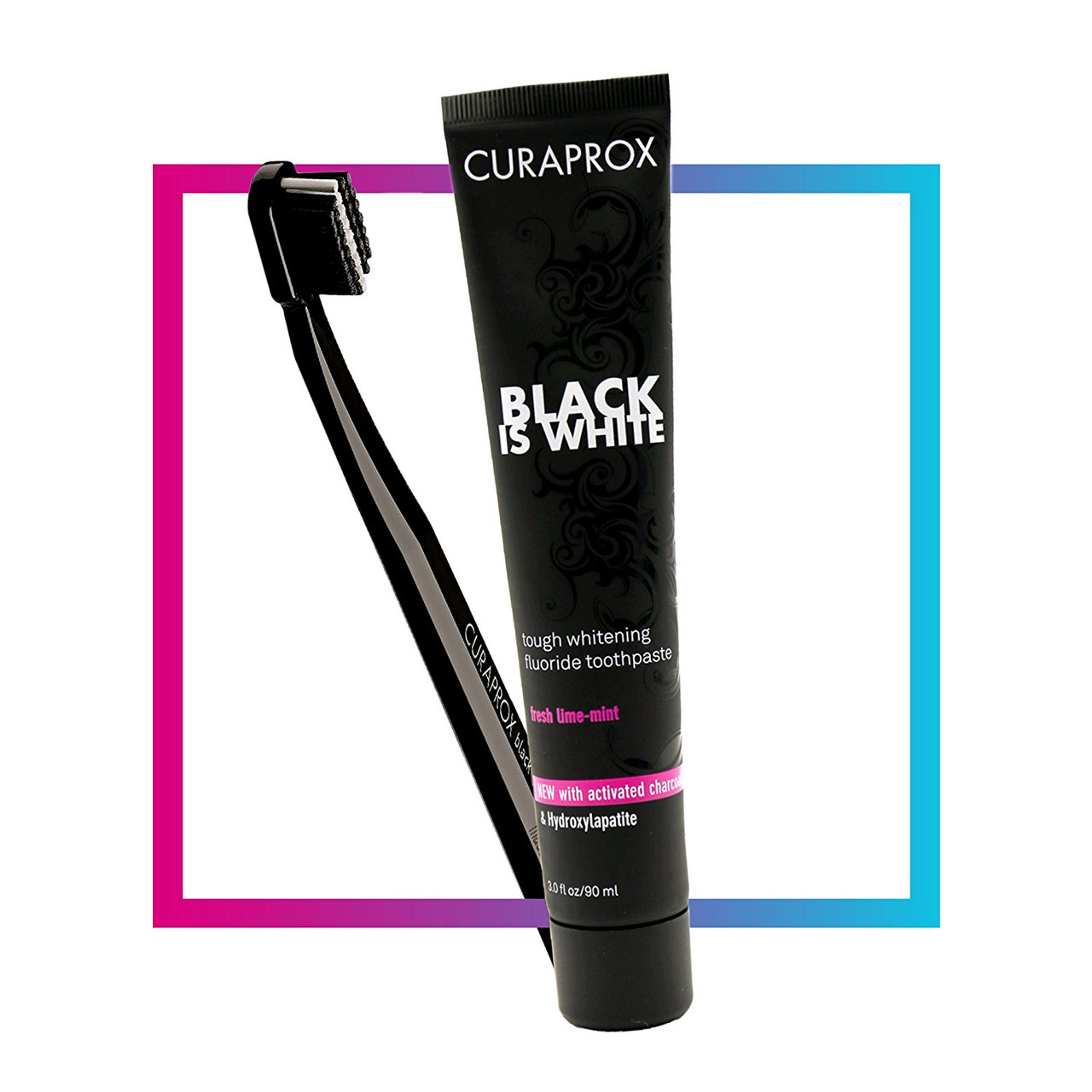 Black Is White 90ml + Toothbrush Ultra Soft, Curaprox Black Is White Toothpaste & Toothbrush by Curaprox  ENAMEL FRIENDLY: Black is White Toothpaste works to give you a healthy white smile and double protection against tooth decay, while protecting your enamel and gum tissue as a main priority