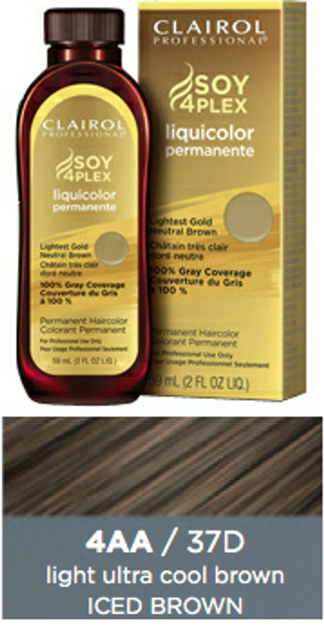 Clairol 37D Iced Brown Hair Color 2 oz: bottle, box, and color