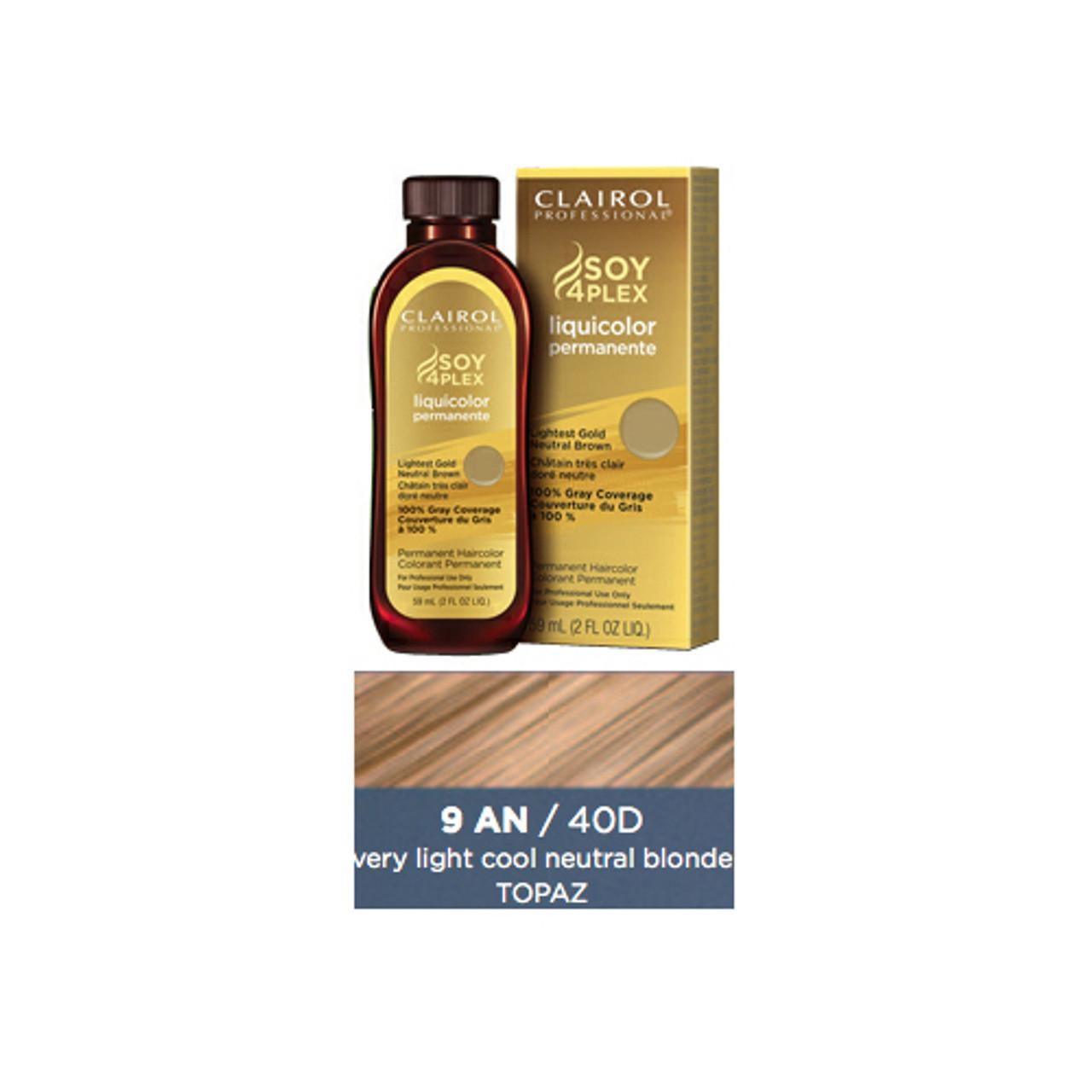 Clairol 40-D Topaz Hair Color, 2 oz: bottle, box, color