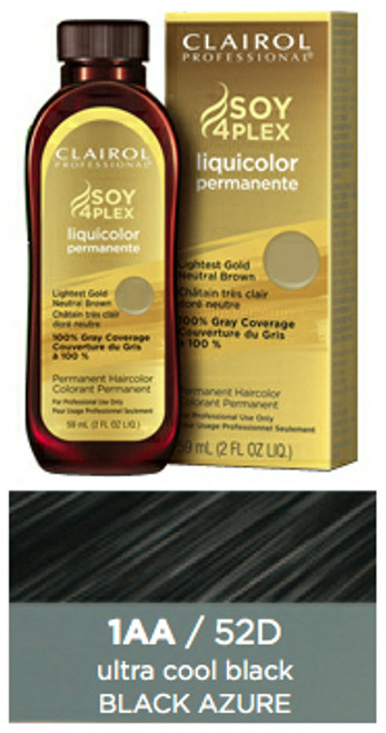 Clairol 52D Black Azure: bottle, box, and color