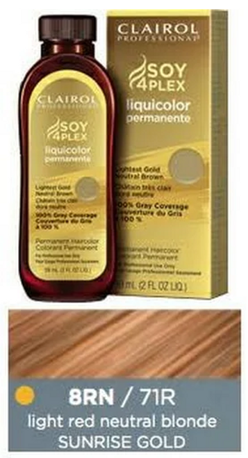 Clairol 71RG Sunrise Gold: bottle, box, and color