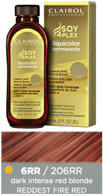 Clairol 206RR Reddest Fire Red: bottle, box, and color