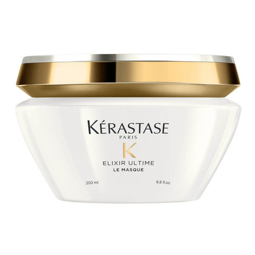 Krastase Paris K Elixir Ultime Masque  200 mL  Restore your hairs health and hydration with Krastase Elixir Ultime Masque, a rich and replenishing treatment for dry, damaged locks. A blend of marula, argan, camellia and moringa oils come together to give this hair mask its ultra-nourishing properties.