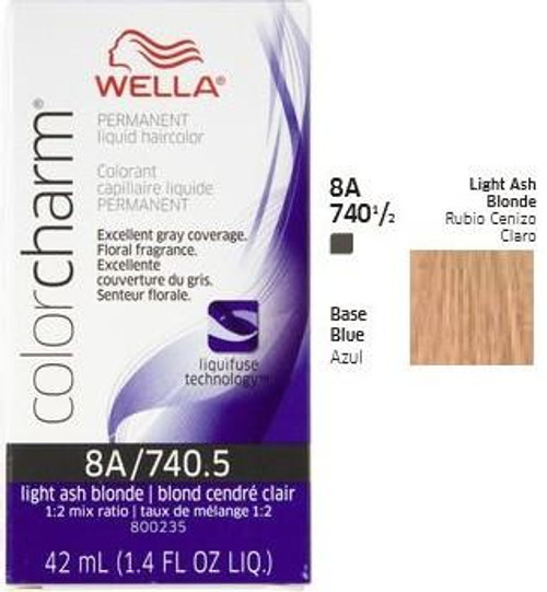 Wella 740-1/2 Color Charm 1.4 oz  - Light Ash Blonde