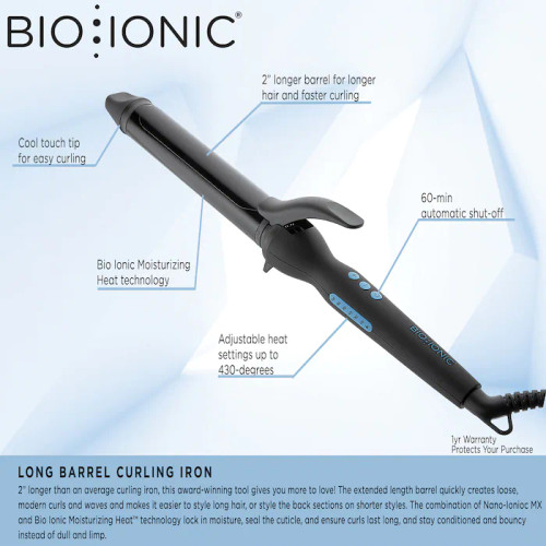 Bio Ionic Curling Iron Long Barrel Styler Pro 1 Inch  A long-barrel curling iron that keeps strands hydrated, even with continuous use, and leaves hair looking and feeling irresistibly silky and smooth.