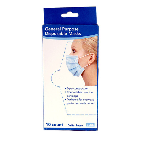 Base4 3 Ply Disposable Face Mask 10-Count