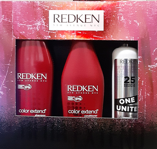 Redken Color Extend Shampoo 10.1 oz & Conditioner 8.5 oz & One United 5 oz Holiday Gift Set