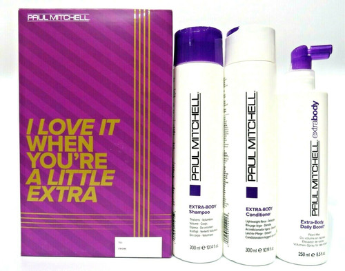 Paul Mitchell Extra-body Daily Shampoo, Conditioner, Boost Trio Holiday Set