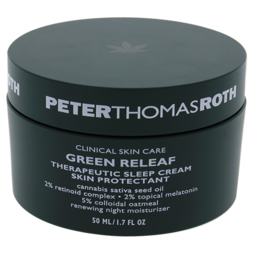Green Releaf Therapeutic Sleep Cream is a calming, smoothing night moisturizer with hemp-derived cannabis sativa seed oil, retinoid, topical melatonin, and colloidal oatmeal