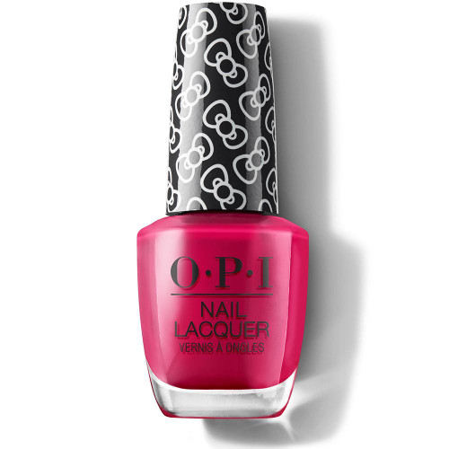 OPI Hello Kitty Limited Edition Nail Polish - All About the Bows 15 mL  Create the perfect manicure with the OPI Hello Kitty Limited Edition Nail Polish. Celebrating the iconic character's 45th birthday, this collection is instantly recognizable thanks to the cute bow-printed lid. Easy to apply, the nail polish glides on effortlessly to deliver highly-pigmented, chip-resistant color, whilst its exclusive ProWide brush allows controlled, precise application for mistake-free, salon-worthy tips. Made in the USA.