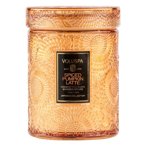Voluspa Spiced Pumpkin Latte Mini Jar  Notes of fresh Kabocha Pumpkin, Vanilla Marshmallow, Coconut Crema & Cinnamon Spiced Brûlée.  Invite the Fall season in with Voluspa's Spiced Pumpkin Latte collection. Like cozying up with your favorite drink, this collection evokes a familiar yet refined scent.