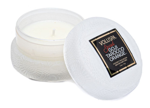 Voluspa Macaron Candle - Spiced Goji Tarocco Orange 1.8 Oz  An elegant, heavenly-scented candle Features proprietary coconut wax blend & 100% natural wicks Lightens your space with a soft, enchanting fragrance