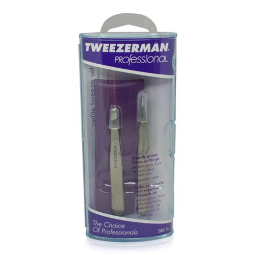 Tweezerman Petite Tweeze Set with Case  High-end tweezers perform better, and with our Tweezerman Petite Tweeze Set, you are prepared for anything even when you are on the go. This set of slant and point-end tweezers are made of quality stainless steel for precision and durability. They are just like our full-size tweezers, but with a smaller size, they are compact and easy to tote with you.