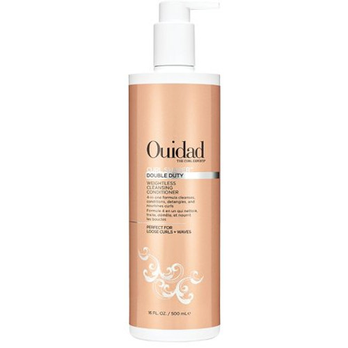 Ouidad's unique Curl Shaper Double Duty Weightless Cleansing Conditioner contains a 4-in-1 formula that gives you the foundation for beautiful curls. The ultra-nourishing cleanser effectively removes dirt, oil, and buildup without stripping natural oils, which can cause limp or inconsistent curls. Rice bran oil and resurrection flower deliver reparative properties to help build curl memory while conditioning and nourishing strands. Elasticity is improved, frizz is reduced, and manageability is enhanced. The result: hydrated, healthy curls that are soft and defined.