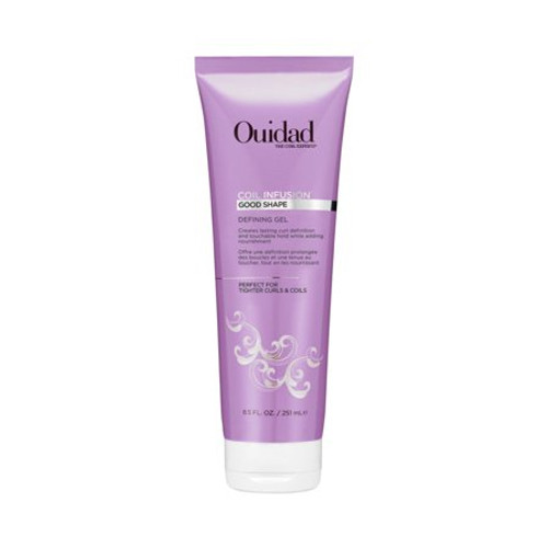 Ouidad's lightweight Coil Infusion Good Shape Defining Gel nourishes and elongates thirsty curls while creating a soft and lasting hold.It's ideal for creating twist outs, locs, or simply enhancing your natural curl pattern. Argan oil locks in moisture and shields strands from frizz while black castor oil protects from damage. Curls are left defined, nourished, and lengthened.USE IT:Apply a small amount on clean and wet hair. Apply more for tighter curls and less for elongated curls. Style as usual.