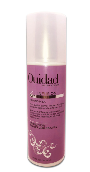 Ouidad's Coil Infusion Priming Milk is a stretching primer that minimizes shrinkage and fights frizz.Ultra-moisturizing ingredients like shea butter, acai, sunflower extract, and aloe leaf juice work to create a serum-like texture that quickly coats and elongates curls without residue. Black castor oil prevents damage, also making this a great treatment.USE IT:As a Primer: Add primer to your hands first, then run through wet hair. Style as usual.As a Treatment: Apply evenly to clean, wet or dry hair. Leave on overnight. Do not rinse out