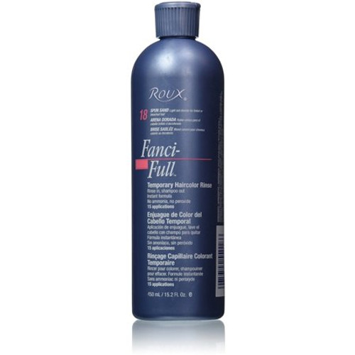 Fanci-Full Rinse 18 Spun Span Rinse Temporary Hair Color 15.2 oz This Roux Fanci-full temporary hair color rinse number 18 spun sand is light ash blonde for tinted or bleached hair. It is an instant formula that rinses in and shampoos out. It keeps color looking its best between color treatments, evening tones and removing brassiness.