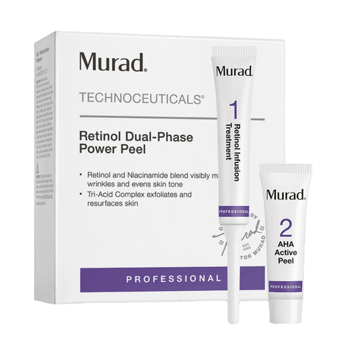 Murad Retinol Dual Phase Power Peel 10 Count Infused with tri-active technology which is a fast acting, time-released Retinol booster. Powerfully formulated to blur the appearance of fine lines and wrinkles, even skin tone and texture and boost elasticity leaving your skin feeling fresh, plump and youthful.