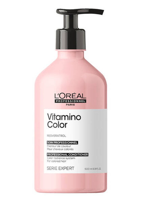 Loreal's Professional Color Vitamino Conditioner  Conditioner for color-treated hair infused with resveratrol to maintain shine on color-treated hair for a perfect luminous result.
