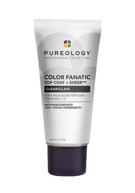 Pureology Color Finatic Top Coat Clear 1 O High gloss top coat, infused with Oat Milk and Camellia Oil resolves shine and softness, while neutralizing unwanted brassy, yellow tones refreshing hair color for up to 6 washes.