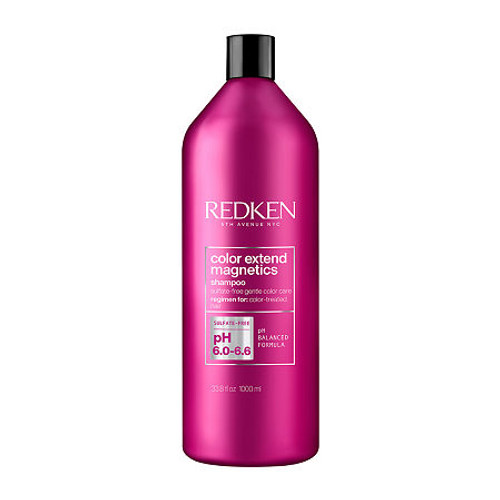 Redken Color Extend Magnetics Shampoo Liter  The sulfate-free hair shampoo is for color treated hair. This sulfate free shampoo gently cleanses, enhances shine and brightens hair for more vibrant hair color. This formula is acidic, which means it helps re-balance pH levels of hair. It is Sulfate-free, Non-stripping, lightweight, gentle, conditioning cleanser- Rich lather. Contains amino-ions to help seal in color. Strengthens the hair fiber from root to tip with soft, flexible results.