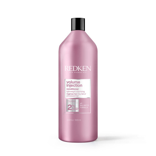 Redken Volume Injection Conditioner for Fine Hair Liter  Same great formula you know and love, with a packaging glow up! Don't let flat hair get your down! Add lift and body to your look with Redken's Volume Injection Conditioner. This product is a lightweight, volumizing conditioner formulated with Redken's Bodifying Complex with Filloxane. Volume Injection helps to provide instant volume to fine, flat, or processed hair. It targets damaged hair to prevent hair breakage while creating movement and enhancing hair's body. Volume Injection activates root lift for full scalp care and maximum volume. Product benefits include:-Root lift and body-Polished finish-Contains a volume-boosting blend of filloxane, softening and silicone polymers.