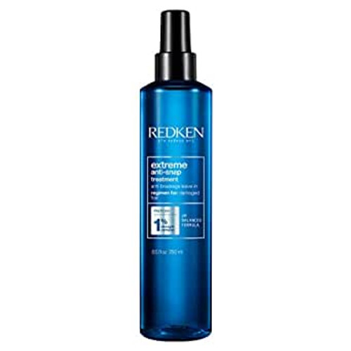 Redken Extreme Anti-Snap Anti-Breakage Leave-in Treatment for Distressed Hair Fortifies Hair & Helps Reduce Breakage Infused with Proteins 8.5 Fl O  Redken Extreme Anti-Snap leave in conditioner gently smoothes the hair cuticle to help prevent hair breakage and fortify damaged hair. Anti-Snap is formulated with Redken's Strength Complex and acts as a deep conditioner, reducing friction from brushing and preventing further damage, leaving hair healthy, shiny and resilient.