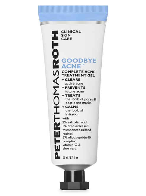Peter Thomas Roth Goodbye Acne Complete Acne Treatment Gel 1.7 Oz  From the Goodbye Acne Collection. A unique, lightweight gel-cream to clear acne. 1.7 oz. Made in USA. Clears, prevents, treats and calms the look of acne-prone skin for complete results. Formulated for all skin types.