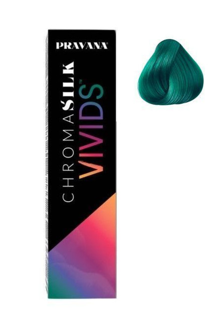 Pravana ChromaSilk Color Vivids Green (Direct Hair Dye) 3 Oz  A collection of 10 shades of the most vibrant colors imaginable.  Vivids can be combined with more conventional colors to provide an array of stunning color effects.  PRAVANA's award-winning VIVIDS impart long-lasting, rich color and brilliant shine.