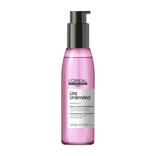 L'Oreal Liss Unlimited Smoother Serum 4.2 Oz  The Liss Unlimited Serum is especially designed for unruly hair. The serum is enriched with Primrose Oil, Evening Primrose Oil, Kukui Oil, Xylose and Pro-keratin. These ingredients nourish and strengthen the hair intensively.
