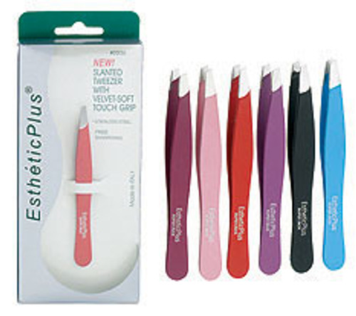 Esthetic Velvet Soft Touch Slanted Tweezers