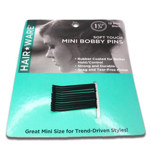 Spilo Black Rubberized Mini Bobby Pins